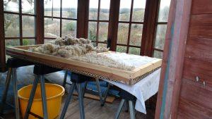 making a felted fleece rug