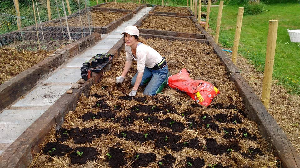 nicole planting new veg patch