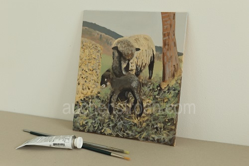 Gifts for sheep lovers - Witchy & Yogi lamb original acrylic painting