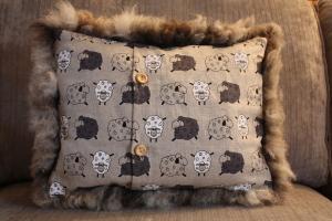 Coloured Ryeland hog cushion (back)