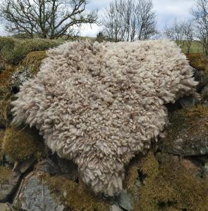 felted fleece rug-Coloured Ryeland-Sky-