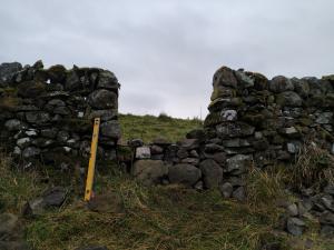 Gate gap (unneeded) in stone dyke - repair underway