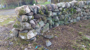 Stone dyke at house 3 - rebuild complete